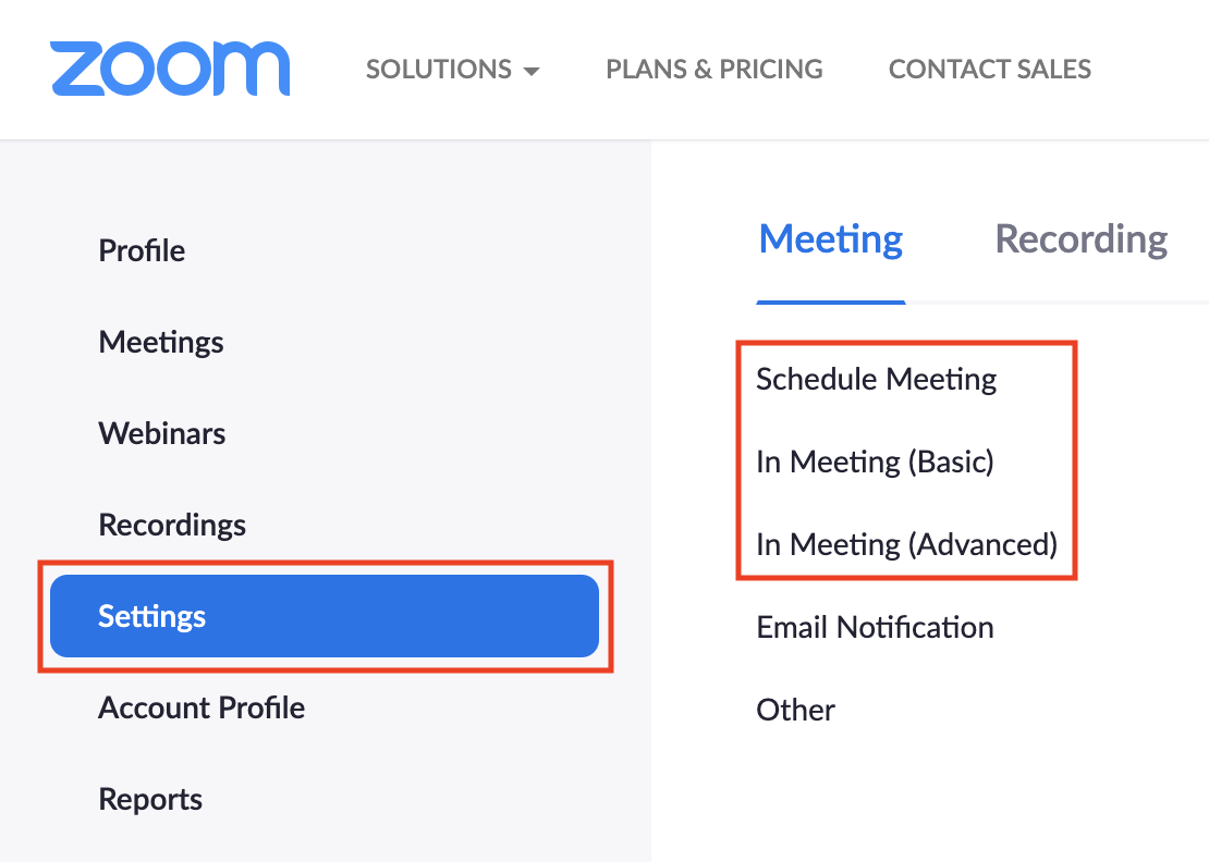 Image: Global Settings: Schedule Meeting, In Meeting (Basic), and In Meeting (Advanced)