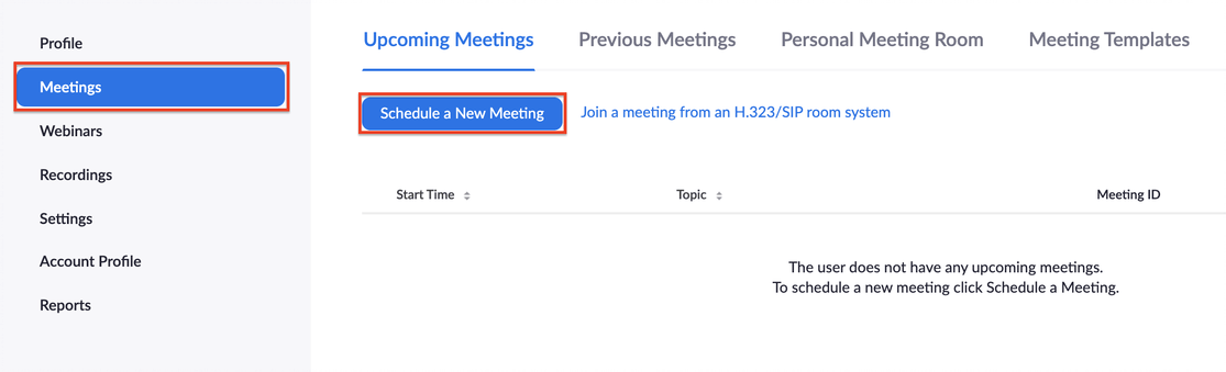 Image: Meetings and Schedule a New Meeting button